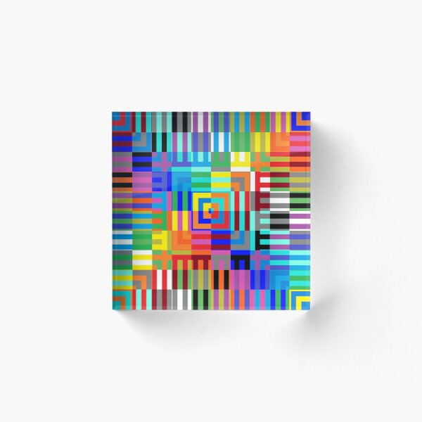 Colored Symmetrical Striped Squares Acrylic Block