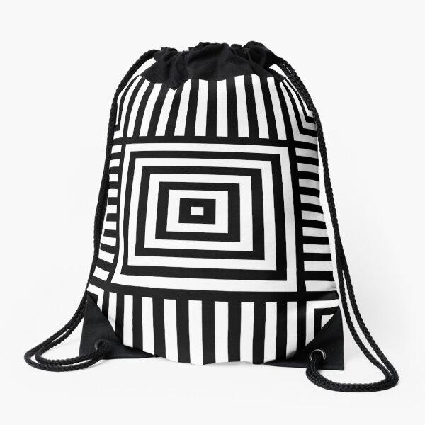 Symmetrical Striped Squares Drawstring Bag