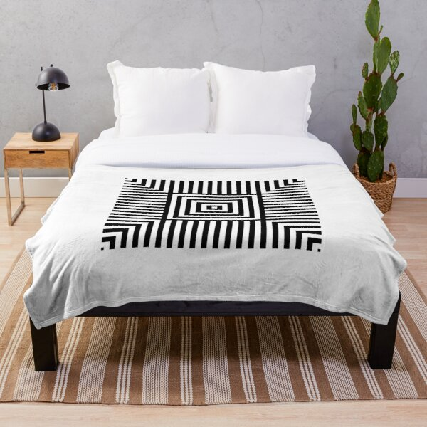 Symmetrical Striped Squares Throw Blanket