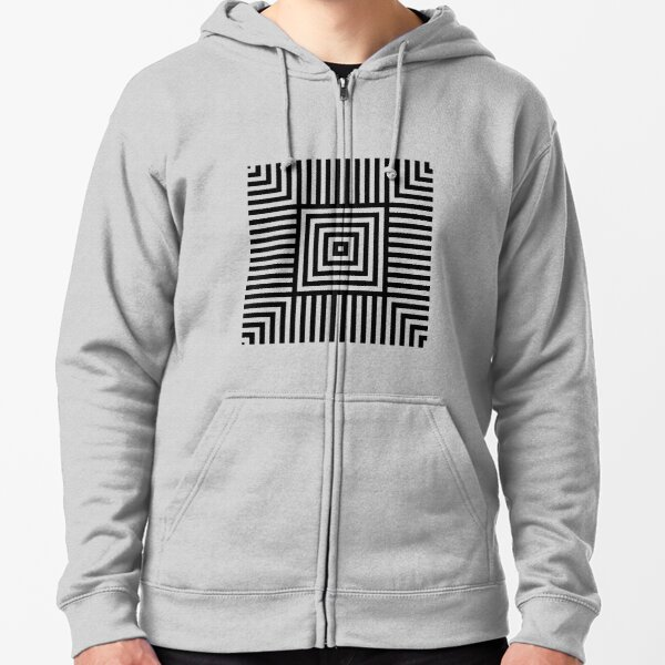Symmetrical Striped Squares Zipped Hoodie