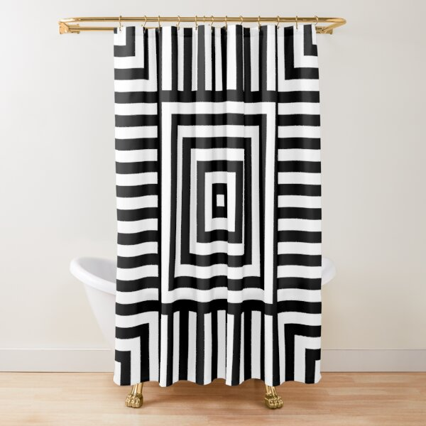 Symmetrical Striped Squares Shower Curtain