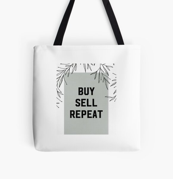 Buy Sell Repeat All Over Print Tote Bag