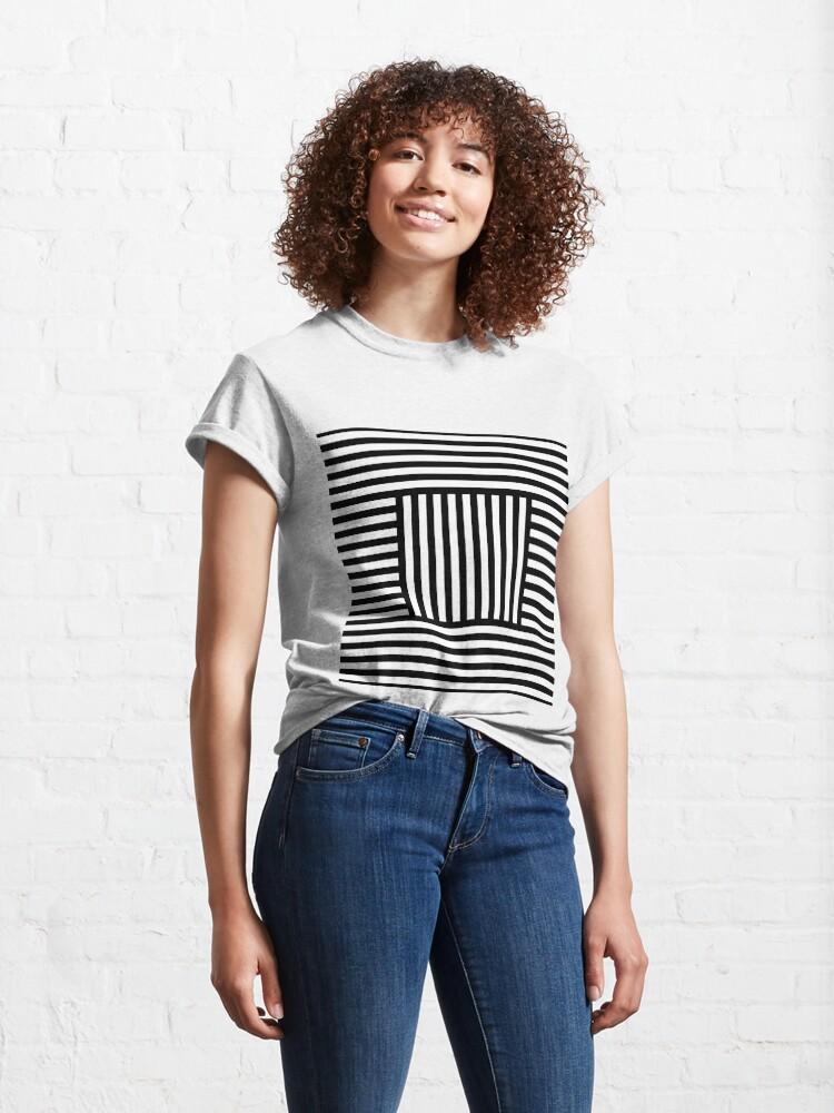 Alternate view of Symmetrical Striped Squares Classic T-Shirt