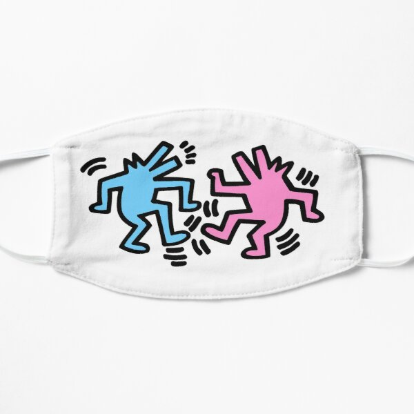 Two dancing dog in blue pink color Flat Mask