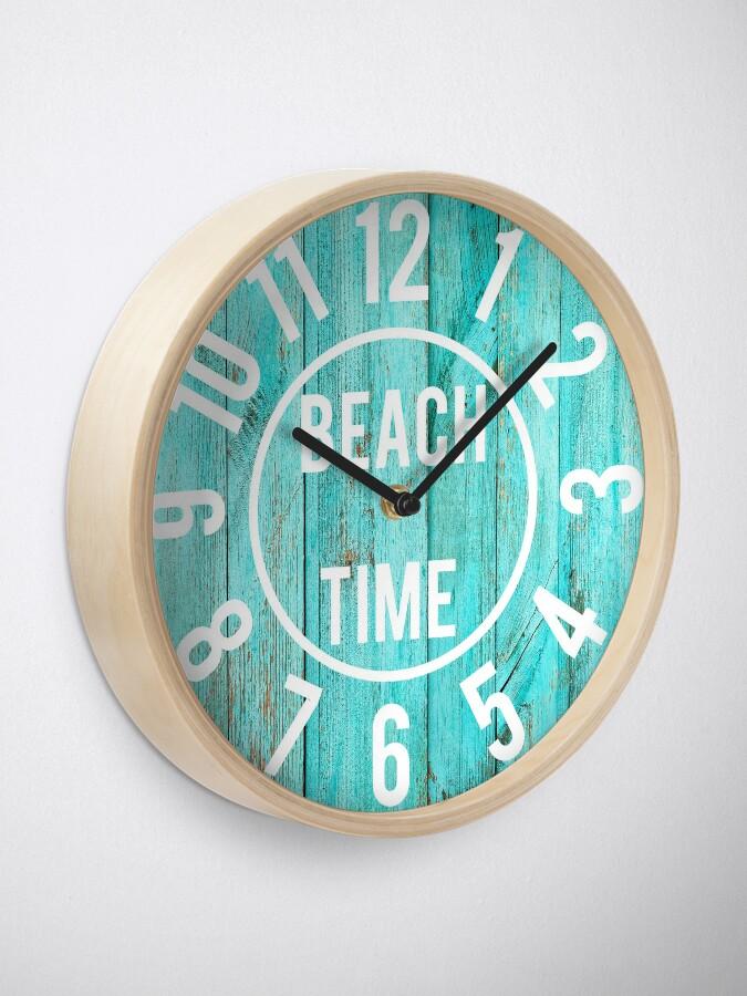 Alternate view of Turquoise Wood Beach House Black  Big Numbers Large Clock Clock