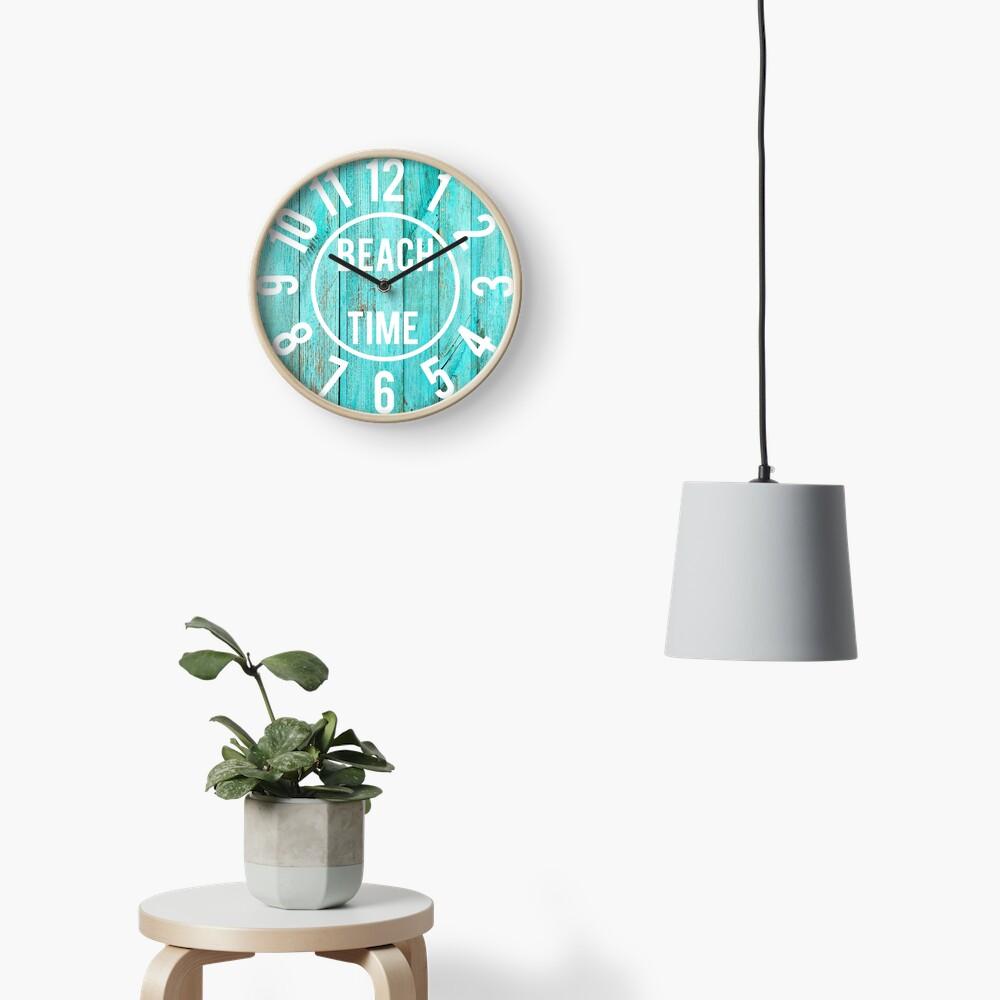 Turquoise Wood Beach House Black  Big Numbers Large Clock Clock
