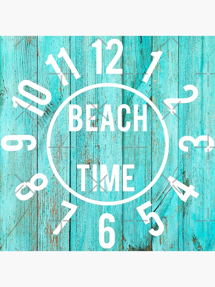 Turquoise Wood Beach House Black  Big Numbers Large Clock by scottyboxa