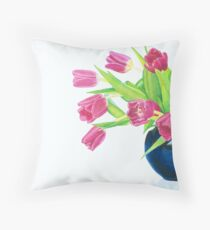 Pink tulips. Throw Pillow