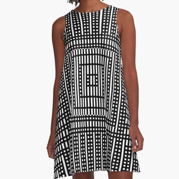 Symmetrical Strips A-Line Dress