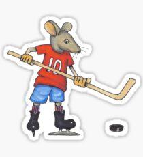 Hockey Player Mouse, Original Illustration Sticker