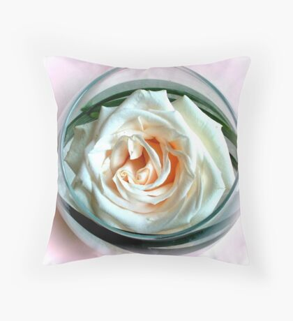 White Rose in Glass Throw Pillow