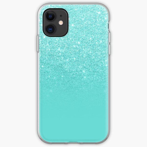 Girly faux glitter ombre teal color block iPhone Soft Case