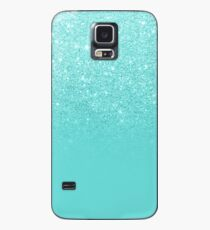 Girly faux glitter ombre teal color block Case/Skin for Samsung Galaxy