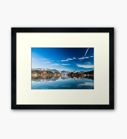 morning at the lake of Bled Framed Print