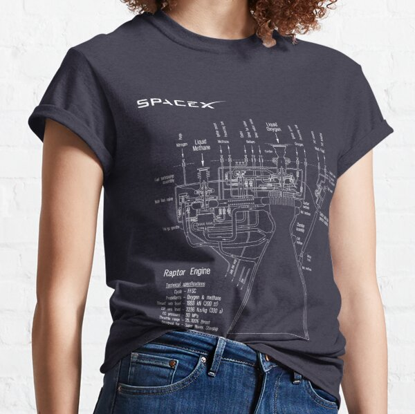 SpaceX Raptor Engine Technical Blueprint  Classic T-Shirt