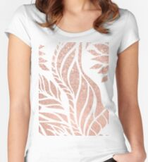 Modern geometric rose gold hand drawn floral Women's Fitted Scoop T-Shirt
