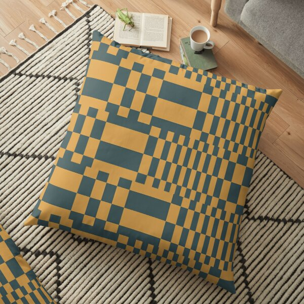 Modern Orange Grey Pattern Shapes Design 1390 Floor Pillow