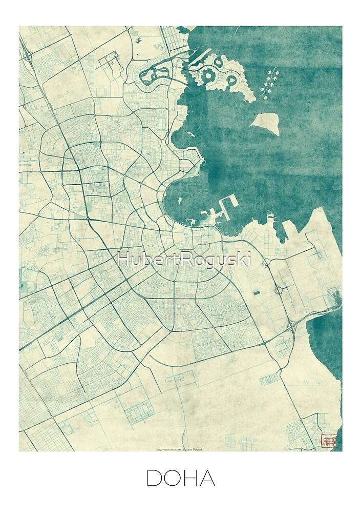 Doha Map Blue Vintage by HubertRoguski