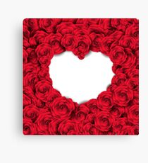 Background with red roses and empty heart Canvas Print