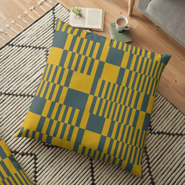 Modern Orange Grey Pattern Shapes Design 1391 Floor Pillow