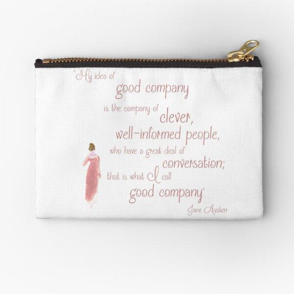 Jane Austen Persuasion Quote, Good Company Zipper Pouch
