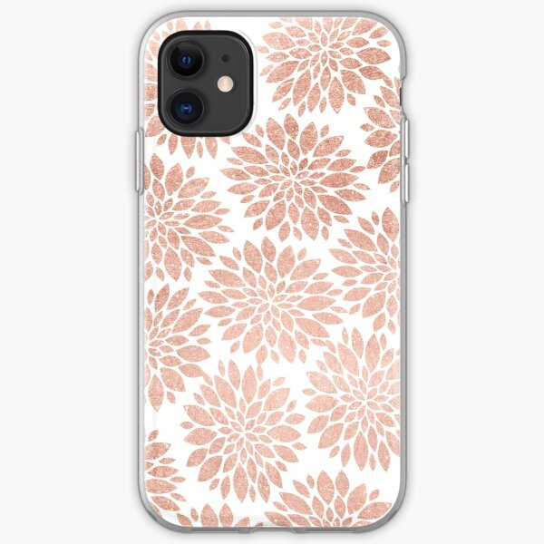 Modern rose gold geometric floral abstract iPhone Soft Case