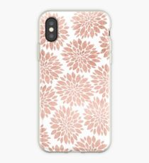Modern rose gold geometric floral abstract iPhone Case