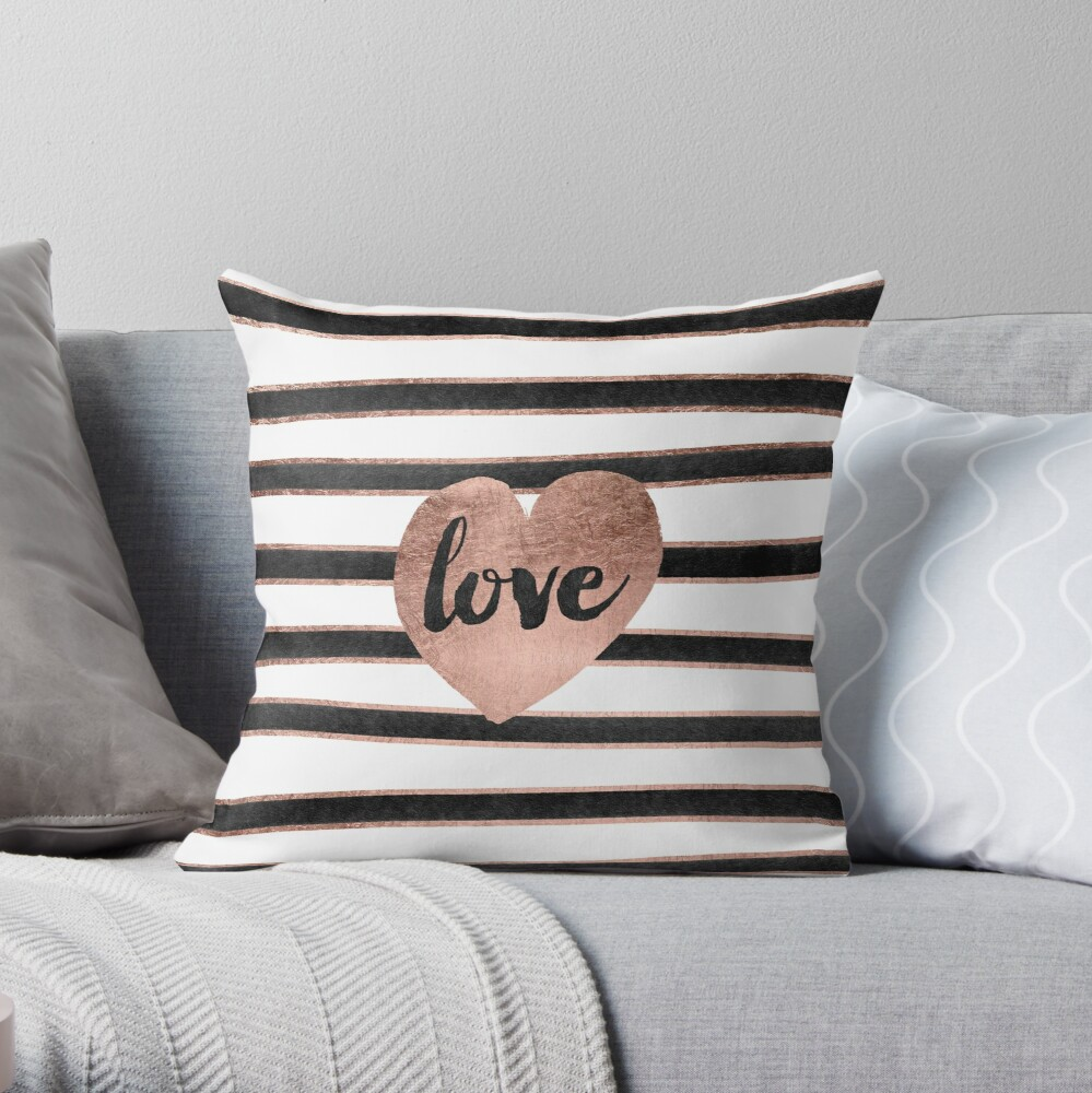 Modern love typography rose gold hearts stripes  Throw Pillow
