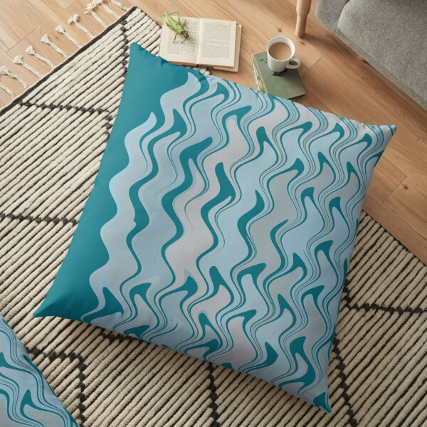 Modern Abstract Aqua Grey Pattern Design 1393 Floor Pillow