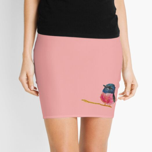 Pink And Black Fluffy Little Bird Painting By Concetta Ellis Mini Skirt