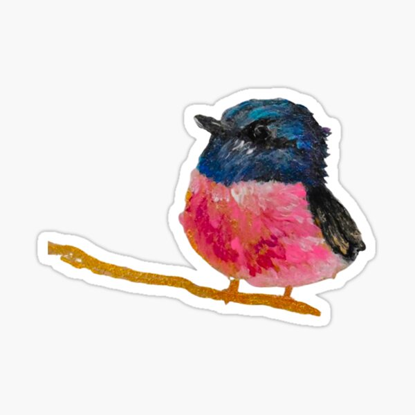 Pink And Black Fluffy Little Bird Painting By Concetta Ellis Sticker