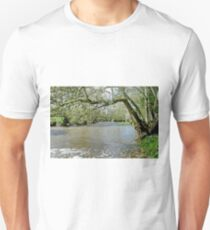 Tree-lined, Swolen River Dove at Thorpe T-Shirt