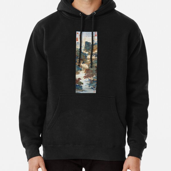 Qiu Ying Fishing under Chinese Sweet Gums Pullover Hoodie