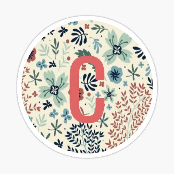 Floral Monogrammed C   Sticker