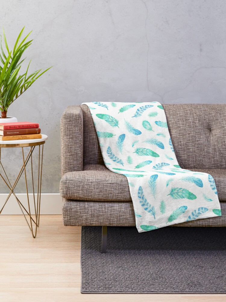 Alternate view of Watercolor Feathers Throw Blanket