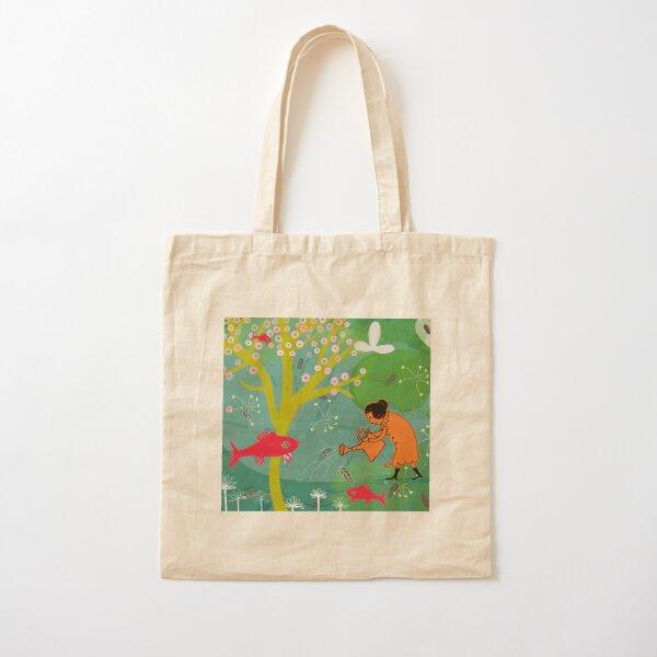 Fish planter illustration Cotton Tote Bag
