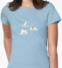 Polar Bear Loves Penguin Womens Fitted T-Shirt