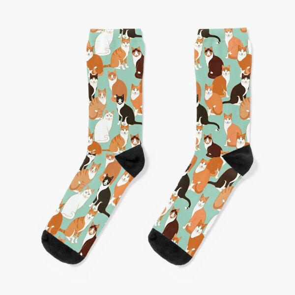 Ginger Cats on mint Socks