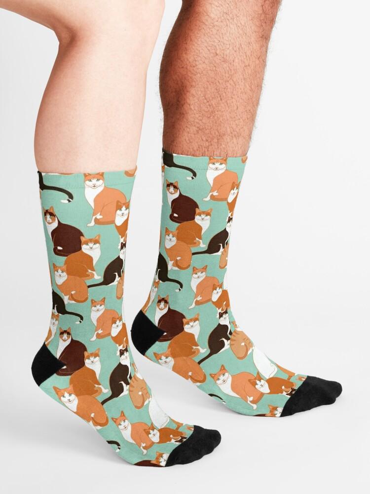 Alternate view of Ginger Cats on mint Socks