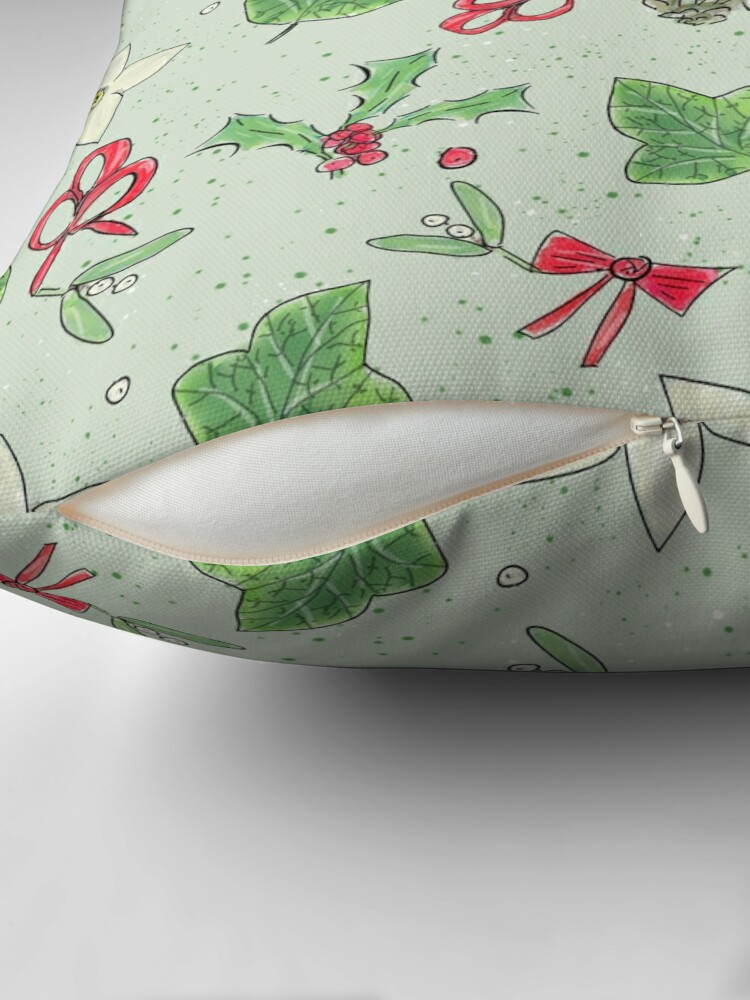 Alternate view of Cute and Whimsical Christmas Leaf and Berry Design Throw Pillow