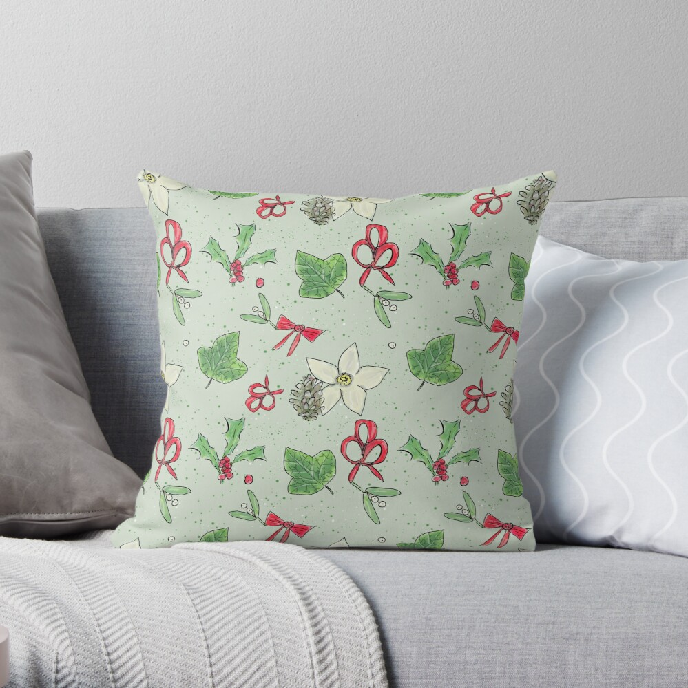 Cute and Whimsical Christmas Leaf and Berry Design Throw Pillow