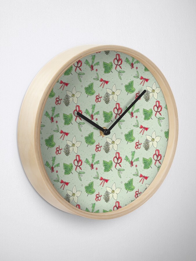 Alternate view of Cute and Whimsical Christmas Leaf and Berry Design Clock