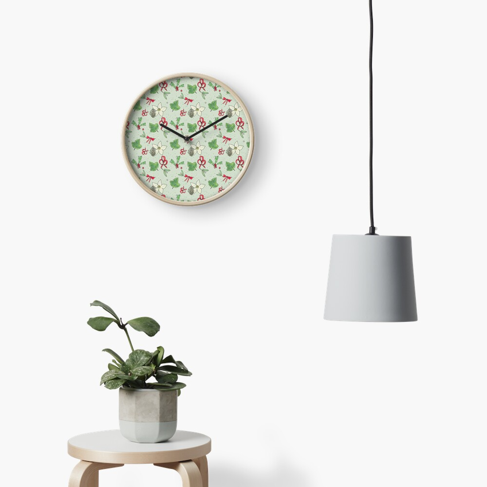 Cute and Whimsical Christmas Leaf and Berry Design Clock
