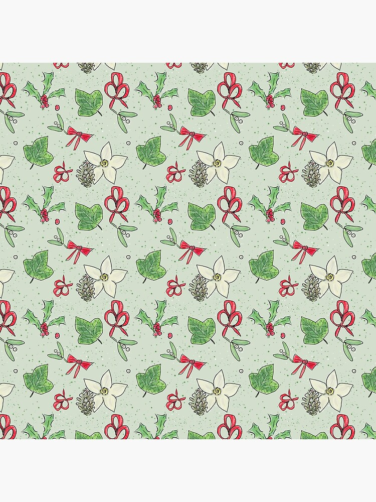 Cute and Whimsical Christmas Leaf and Berry Design by ClareWalkerArt