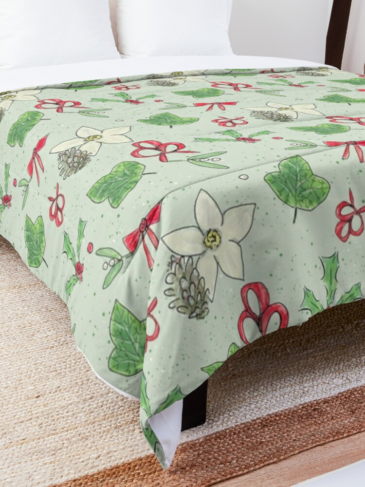 Alternate view of Cute and Whimsical Christmas Leaf and Berry Design Comforter