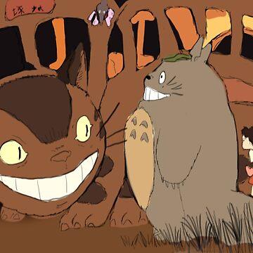 My Neighbour Totoro scene Catbus by PaintedFrogs