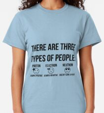 Three types of people: proton, electron and neutron (black) Classic T-Shirt