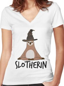 Slotherin Women's Fitted V-Neck T-Shirt