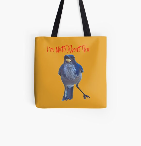 Blue Jay And Nut I'm Nuts About You In Nature With Concetta Ellis All Over Print Tote Bag
