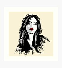 glamour girl with black hairs Art Print